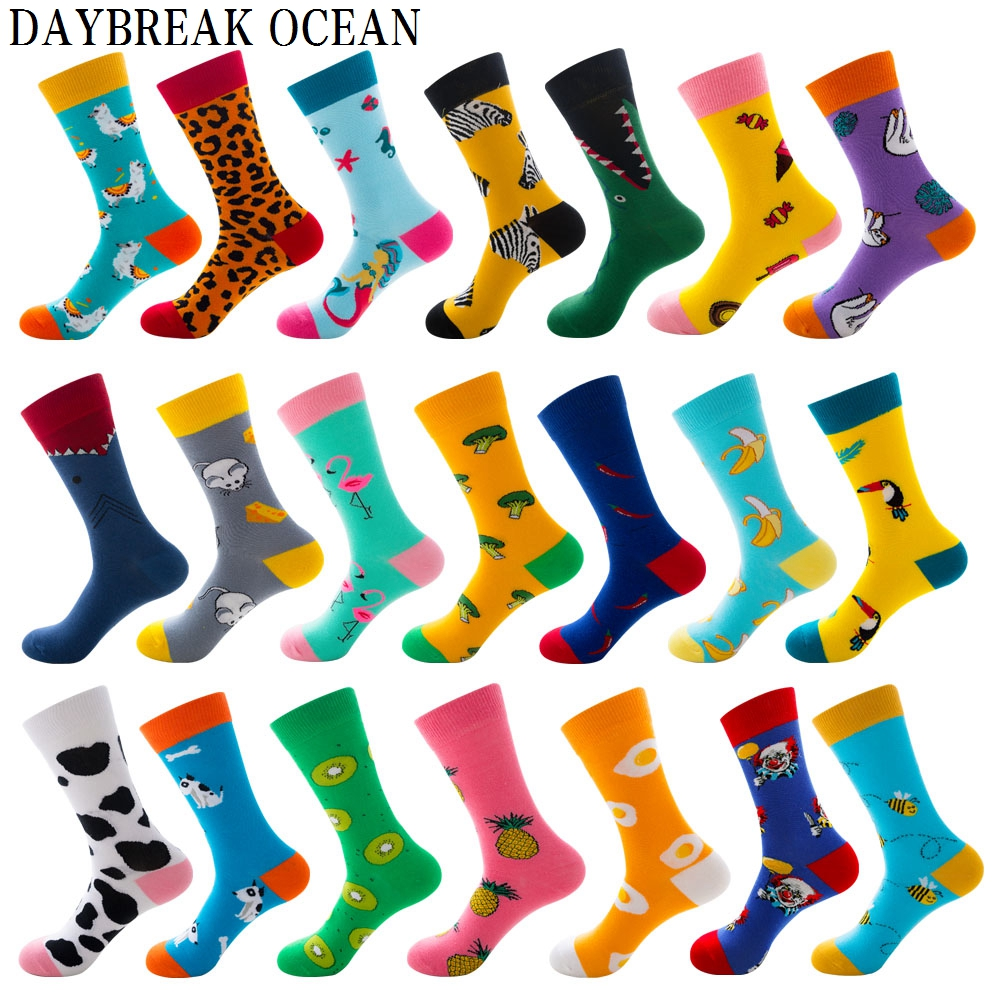 Unisex High Quality New Fashion Mens Socks Women Novelty Funny Animal Fruits Combed Cotton Socks Men's Big Size Crew Socks