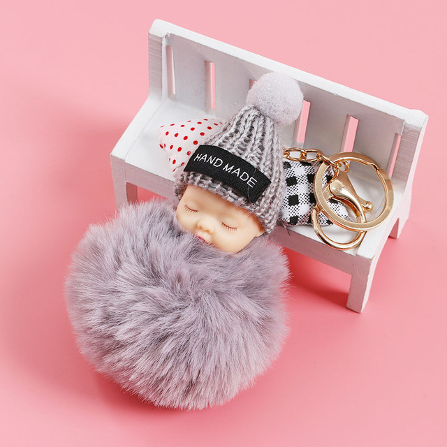 229f326ae5 1Pc Cute Sleeping Baby Keychain Fluffy Pompom Faux Rabbit Fur Ball Key Chain  Car Keyring Women Key Holder Bag Pendant Decoration