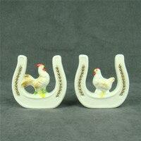 Miłośnicy Ulubieńcy Figurka Handmade Ceramika porcelanowe Drobiu Piskląt Knickknack Podkowy Statua Decor Dar i Rzemiosła Ornament
