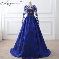 Royal Blue Appliques Embroidery Long Sleeves Celebrity Dresses 2017 Vestido De Festa Evening Gown Celebrity Red