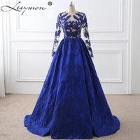 Royal Blue Appliques Embroidery Long Sleeves Celebrity Dresses 2017 Vestido De Festa Evening Gown Celebrity Red