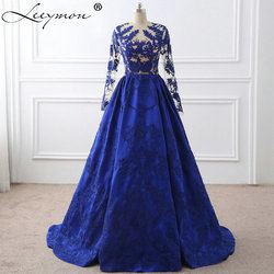 Royal blue lace appliques long sleeves celebrity dresses 2017 vestido de festa evening gown celebrity red.jpg 250x250