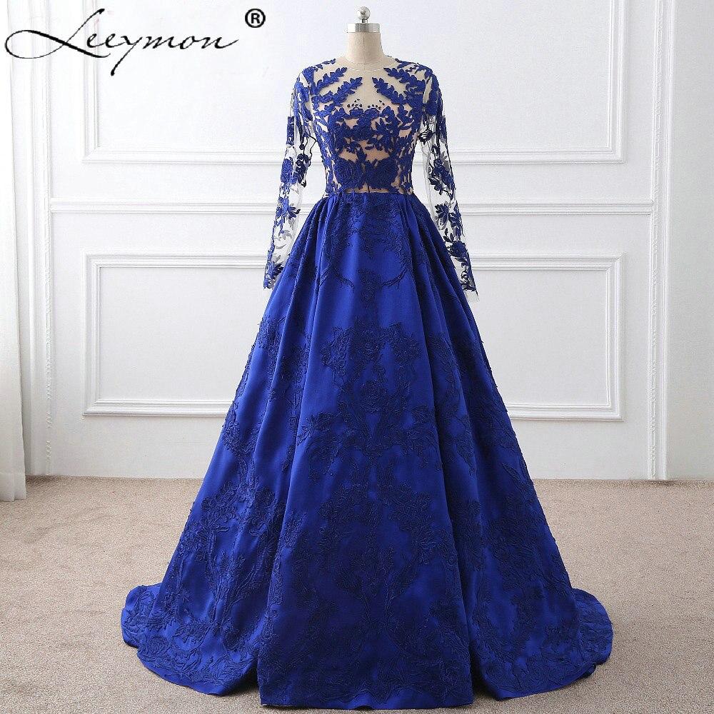 Royal Blue Lace Appliques Long Sleeves Celebrity Dresses 2019 Vestido De  Festa Evening Gown Celebrity Red Carpet Dress 2134580a3629
