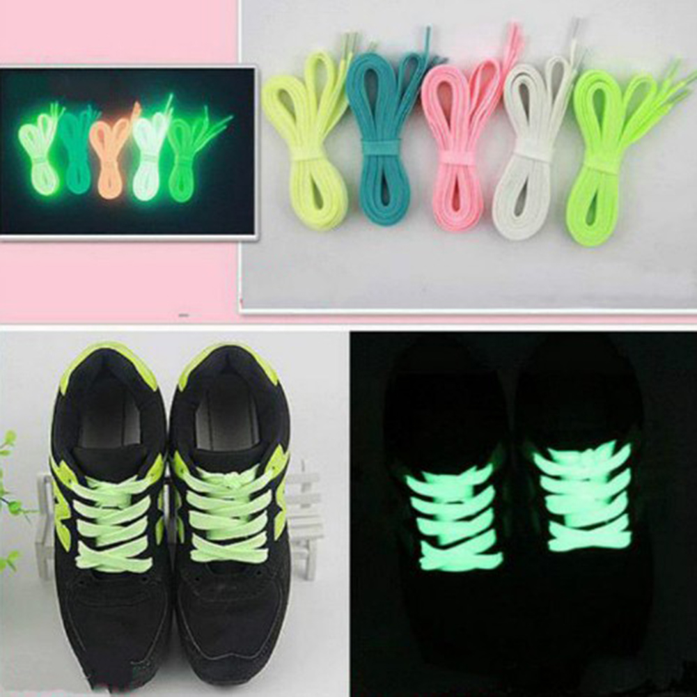 1 pair Sports Luminous Laces Glow In The Dark Color Fluorescent Lace Flat Shoes in Shoelaces from Shoes