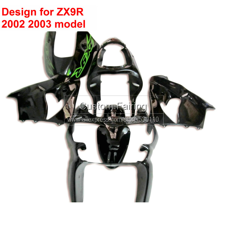 Black Motorcycle Parts for Kawasaki ZX9R zx 9r Ninja 2002 2003 03 / 02 Green Sticker fairing kit xl69