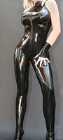 Fashion Women Black Sleeveless Latex Bodysuits Guarantee Sexy Rubber Slim Tight Jumpsuit Plus Size Hot Sale