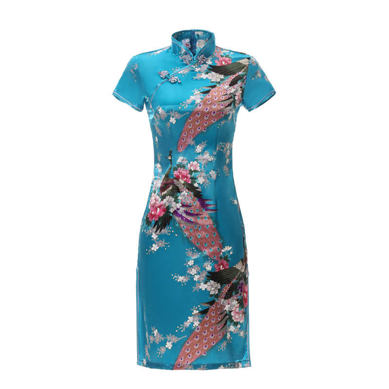 Print Floral&Peacock Satin Women Qipao Summer Short Sleeve Vintage Stage Show Cheongsam Plus Size 5XL 6XL Chinese Dress Gown