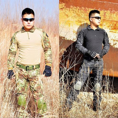 Tactical Camouflage Military Uniform Clothes Suit Men US Army Multicam Hunting Militar Combat Shirt + Cargo Pants Knee Pads sinairsoft ix7 tactical pants outdoor man hiking pants camouflage military army cargo pants men combat trousers trekking pants