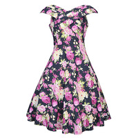 Sisjuly Women Summer Black Dress Women Expansion Floral Print Red Dresses Knee Length V Neck Dress