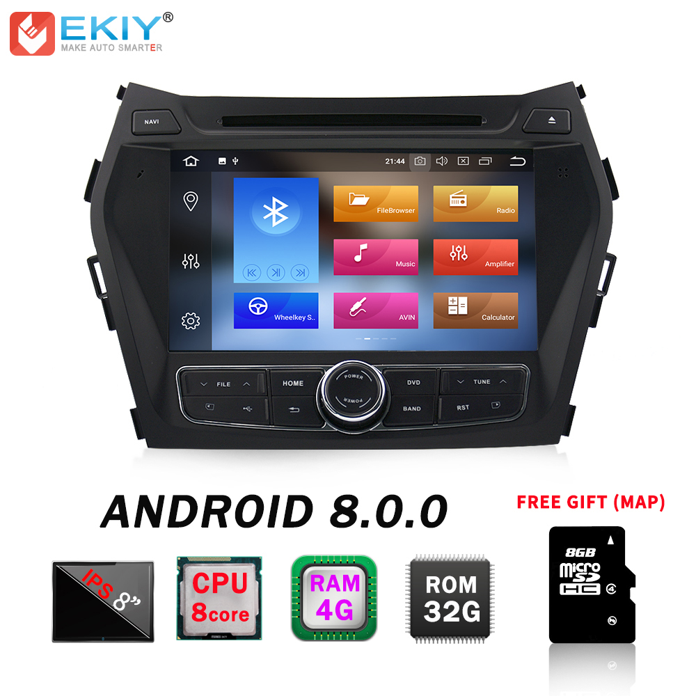 EKIY IPS 2din Android 8.0 Car DVD Multimedia Player For Hyundai Santa Fe IX45 Autoradio GPS Navigation Stereo Music Audio Player