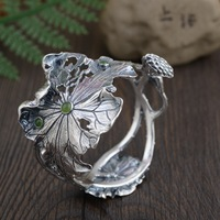 Тайский серебряный Лотос Браслет манжета браслеты для Для женщин Серебряный браслет Браслеты и браслеты ювелирные изделия Pulseiras Brazalete Dia6cm