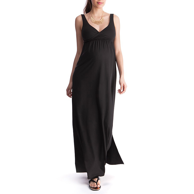 2 Styles Long Maternity Dress Pregnancy Clothes Black Blue V-Neck Sling Dress Evening Party Gown for Pregnant Women New Vestidos jones new york new black women s size xs velvet v neck flare sheath dress $99