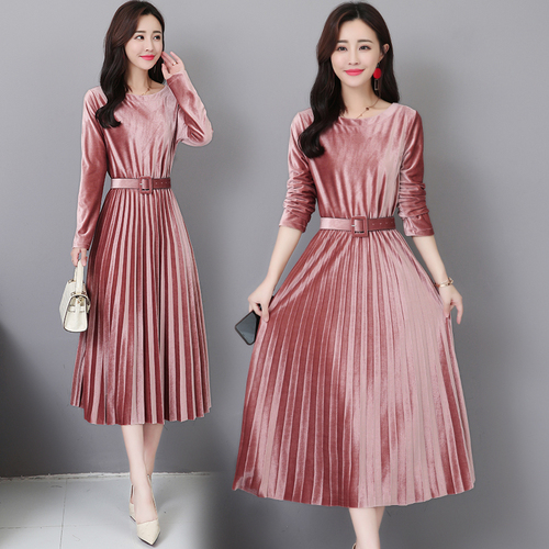 098da93d30a9f Stinlicher 2018 Autumn Winter Vintage Midi Dresses Korean Women Bodycon  Velvet Dress Party O-Neck