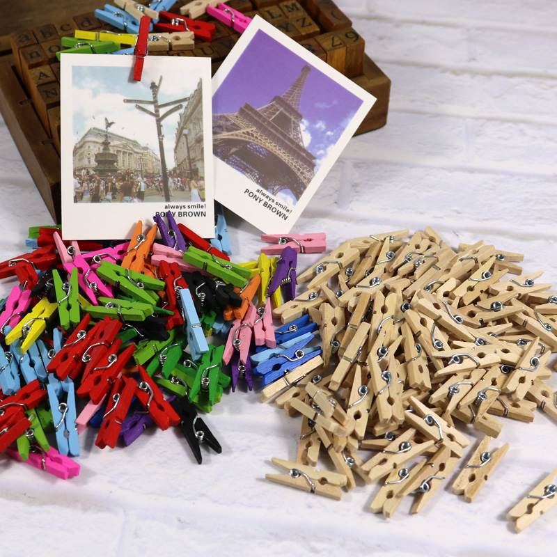 Pk Bazaar Chinese Wood Color Mini String Wood Clips 50pcs 25mm 098