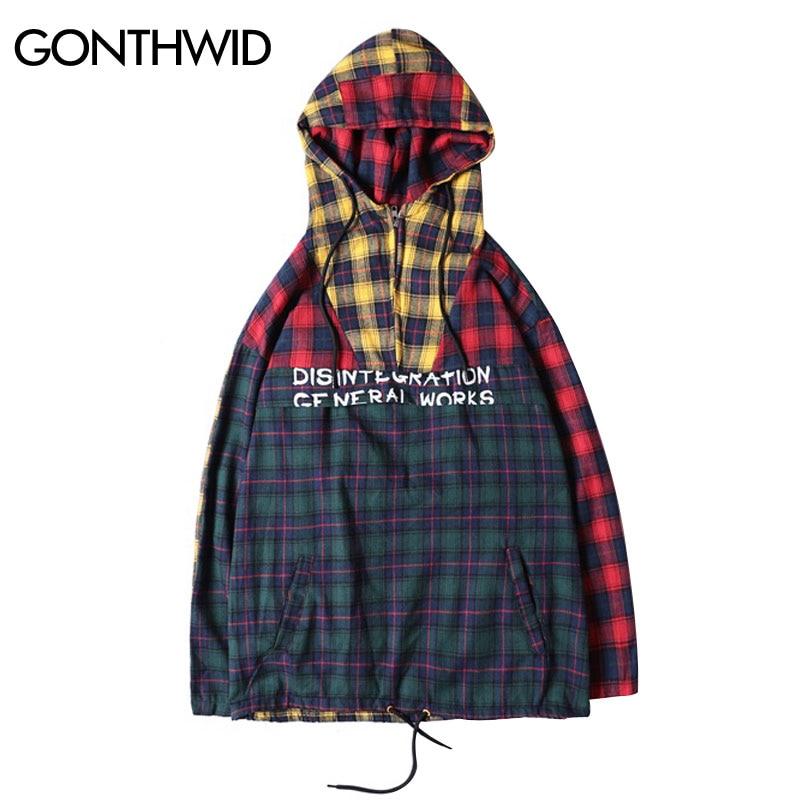 bdc36bf354a GONTHWID Front Pocket Half Zip Hooded Windbreaker Jacket Hip Hop Casual  Pullover Hoodie Coat Mens 2018 ...