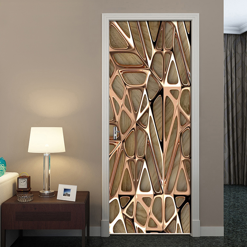 2Pcs/Set Rose Gold Geometric Pattern 3D Wall Door Sticker Self-adhesive Waterproof Wallpaper Decals Home Decor Door Wall Sticker