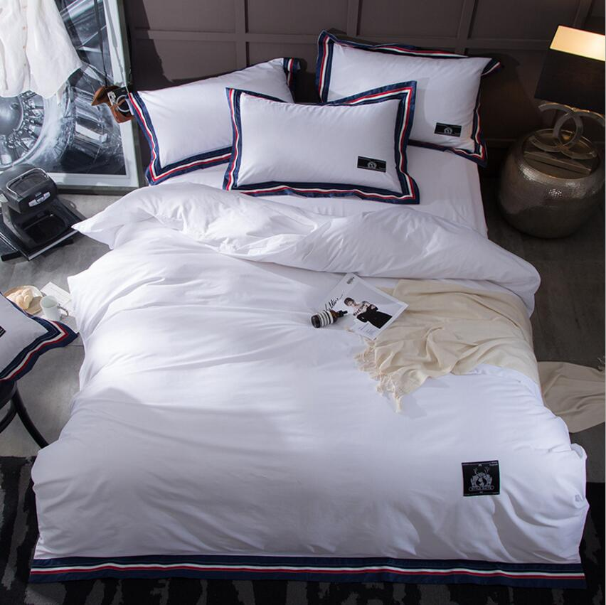 2017 new minimalist style white bedding sets cotton bed for Minimalist comforter