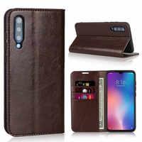 Para Xiaomi mi caso caja de cartera de cuero genuino tarjeta Flip casos para Xiaomi mi 9 teléfono bolsa cubierta Coque Fundas