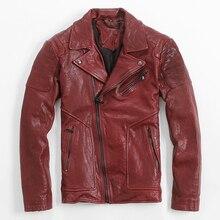 2017 Красная кожаная мотоциклетная куртка для мужчин отложной воротник высокое качество толстые мужчины Slim Fit кожаная байкерская куртка 3XL Бесплатная доставка