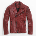 FREE SHIPPING 2017 Red Leather Motorcycle Jacket For Men Turn-down Collar High Quality Genuine Sheepskin Men Slim Fit Biker Coat