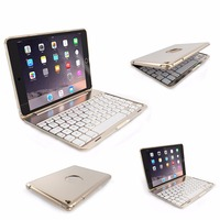 Aluminum Backlit Bluetooth Keyboard Folio Case 7 Backlight For IPad Mini 1 2 3