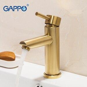 Image 2 - GAPPO havza musluk fırçalanmış altın banyo musluk mikser paslanmaz çelik şelale musluk uzun banyo musluk batarya torneira
