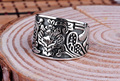 925 sterling silver opening wide carved flower ring band retro thai silver jewelry adjustable size openning for unisex (HY)