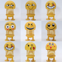 9 in1 Smiling Face Expression Spring Shaking Head Doll Car Interior Spring Funny Cute Decompression Toy for Girl&boy Wholesale