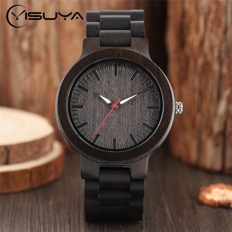 YISUYA Classic Luxury Black Ebony Analog Quartz Wristwatch Men - Տղամարդկանց ժամացույցներ - Լուսանկար 1