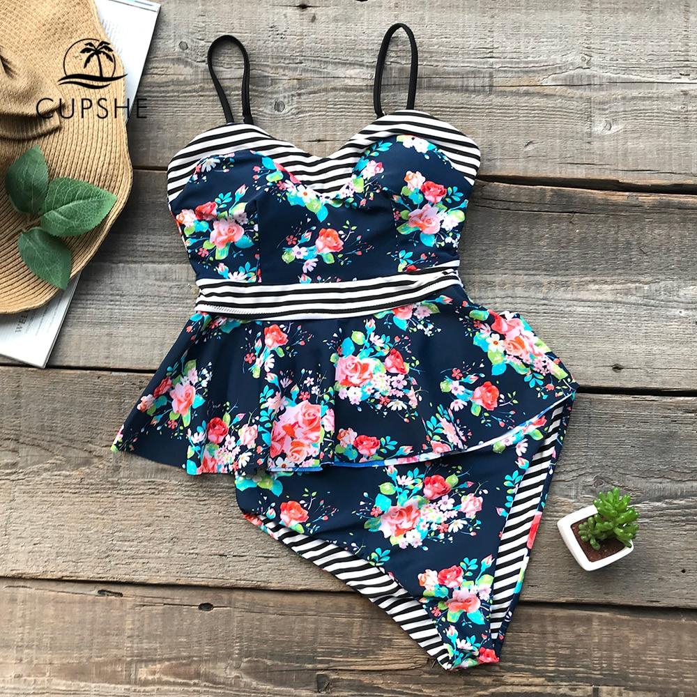 CUPSHE Flower Print Striped High-waisted Bikini Set Women Reversible Ruffle Lining 2 Pieces Swimsuit  2019 Beach New Swimwear Купальник