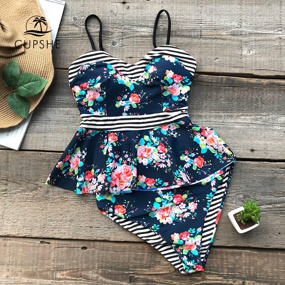 цены на CUPSHE Flower Print Striped High-waisted Bikini Set Women Reversible Ruffle Lining 2 Pieces Swimsuit 2018 Beach New Swimwear в интернет-магазинах