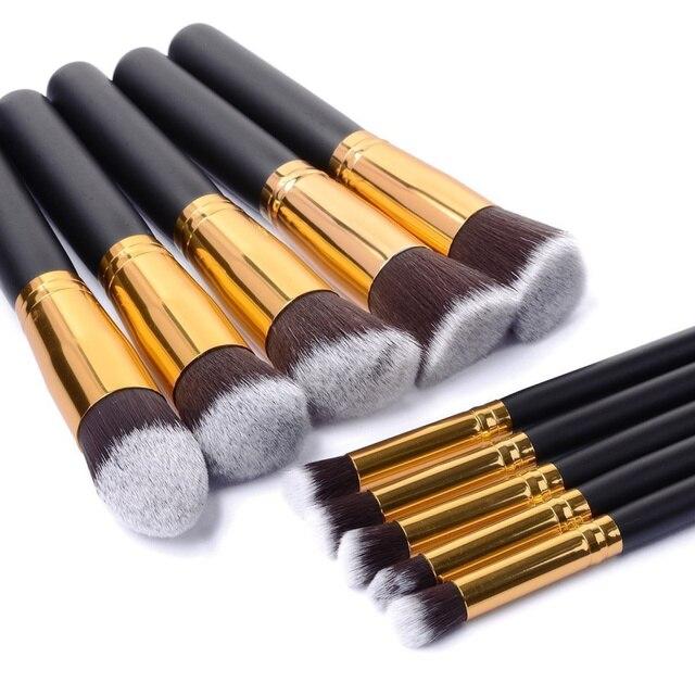 10 piezas de plata/De Oro maquillaje cepillos pincel, maquiagem cosméticos maquillaje herramienta de maquillaje sombra de ojos en polvo cosmético