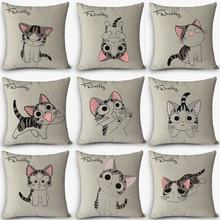 Gran oferta, cojines baratos, bonito estampado de gato, cojín decorativo para el hogar, funda de almohada Vintage de algodón y lino, almohadas cuadradas MYJ-D4 regalo