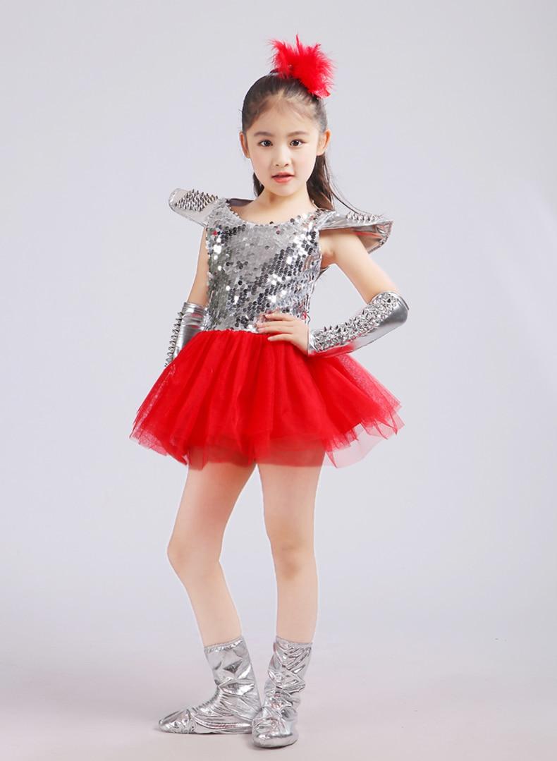 Children Jazz Dance Costumes Sequins Girls Street Dance Show Clothes Kids Hip Hop Stage Dancing Suits Jazz dance dress for girls