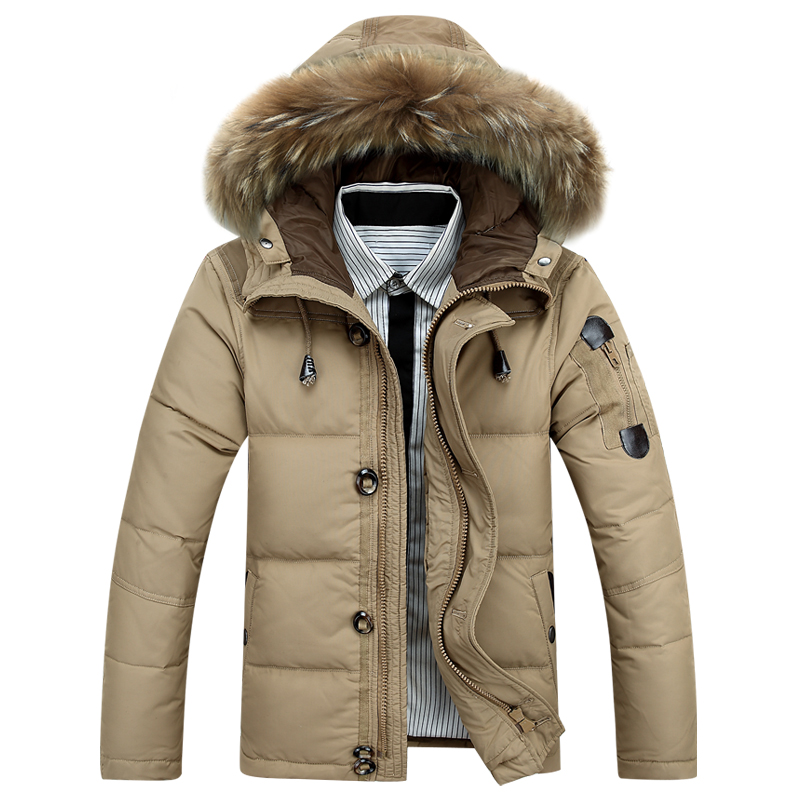Fashion Warm Duck   Down   Jackets Men Winter Thick Hooded   Down     Coat   With Fur hood Male   Down   Parka   Coats   Puffer Overcoat Outerwear