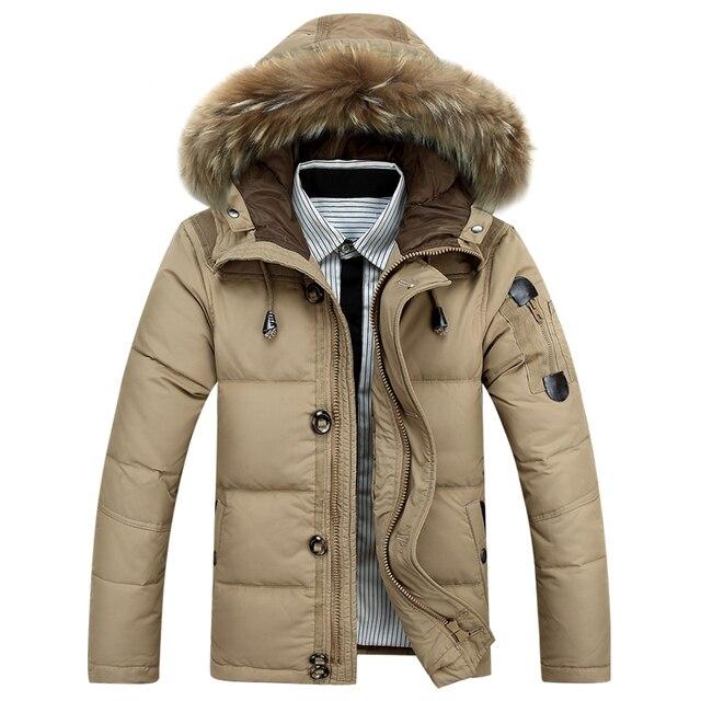 Moda Homens de Inverno de Espessura Com Capuz Para Baixo Casaco de Pato Quente Para Baixo Casacos Com capuz De Pele Masculina Para Baixo Casacos Parka Soprador Casaco outerwear