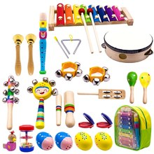 Kids Musical Instruments, 15 Types 23Pcs Wood Percussion Xylophone Toys For Boys And Girls Preschool Education With Storage Ba(China)