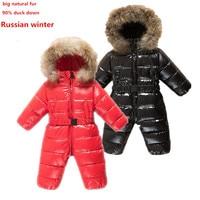 Infant Snow Wear Newborn Baby Boy Snowsuits Girls Winter Romper Toddler Waterproof Jacket Duck Down Jumpsuit One Piece Coat