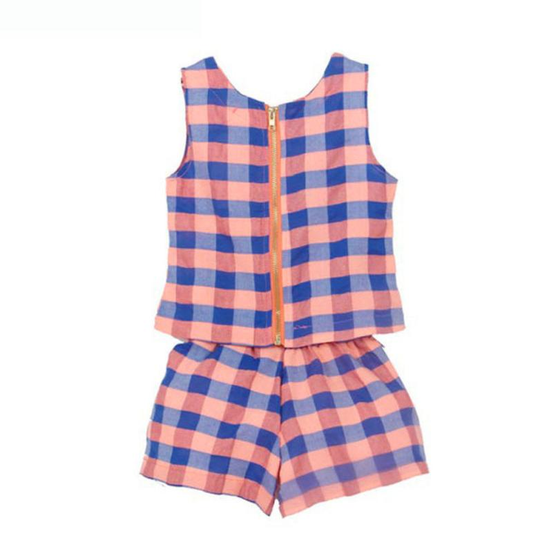 LONSANT Baby Girls Vestidos Plaid Vest T-Shirt+Short Pants Fashion Sleeveless Roupas Infantis Menina Girls Dress Dropshipping