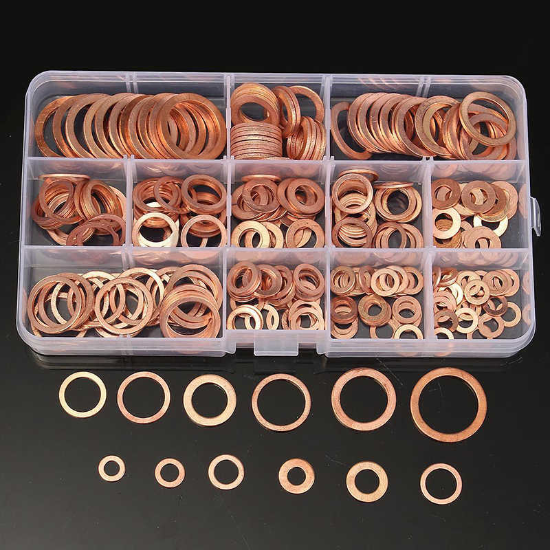 Boxd Solid Copper Crush Washers Assorted Seal Flat Ring Hardware Gasket 280Pcs