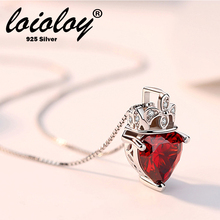 Loioloy Jewelry Red Garnet Birthstone  Solid 925 Sterling Silver 45cm box chain Heart Pendant Necklace For Women