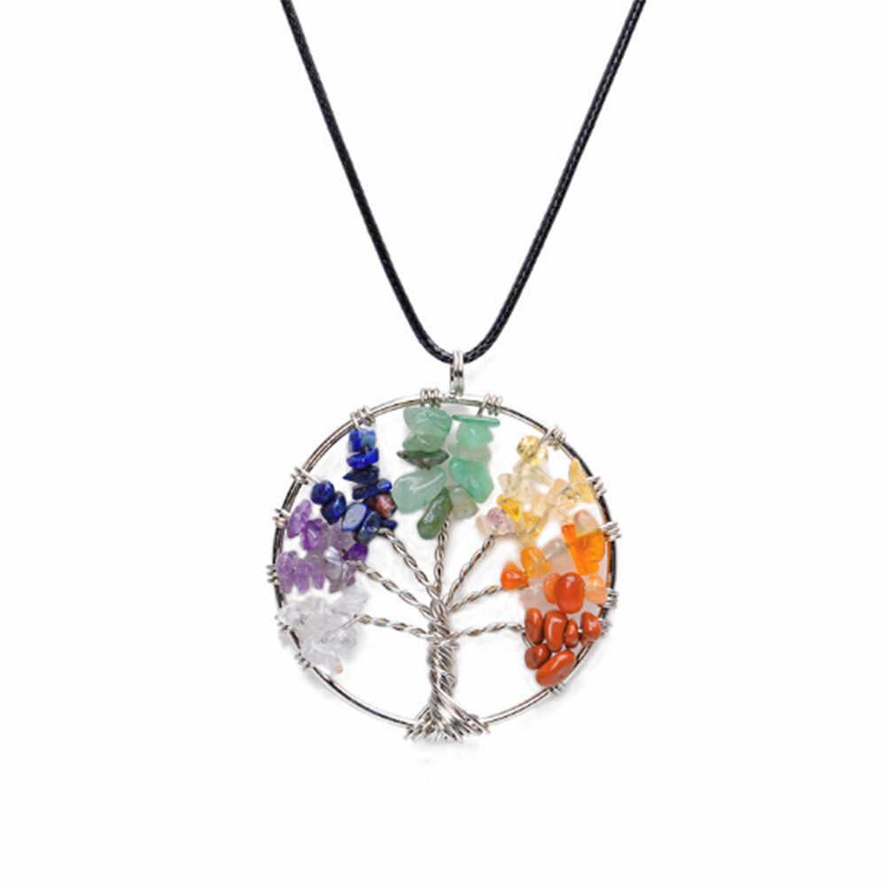ขายส่ง 7 Chakra สร้อยคอจี้คริสตัลธรรมชาติโยคะ Tree of Life Healing ควอตซ์หินเครื่องประดับของขวัญผู้หญิง + หนัง