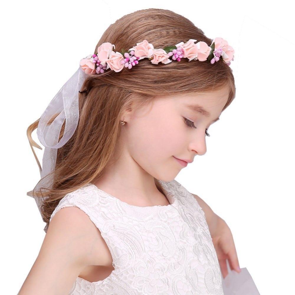 Children Women Lace Hydrangea Flower Crown Wreath Headband Girl Rose Headdress Garland Floral Bracelet Sets For Wedding&events
