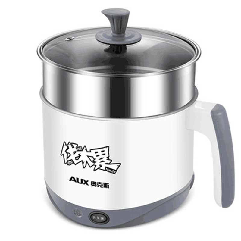 220V AUX Multifunctional Electric Cooker 2L Stainless Steel Inner Mini Multi Electric Hot Pot For School Student Office HX-12B18 110v 220v dual voltage travel cooker portable mini electric rice cooking machine hotel student multi stainless steel cookers