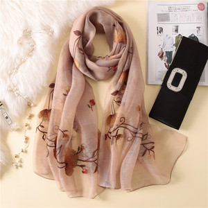 Image 5 - New silk wool scarf women fashion floral embroidery shawl wrap high quality pashmina winter neck scarf bandana face mask hijab