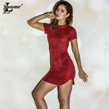 Lei SAGLY Fashion Women Autumn Suede Fabric Dress Sexy Slim Mini Nightclub Clothes