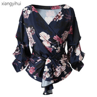 Vintage Floral Print Women Blouses Dark Blue Color Fashion Puff Sleeve Shirt 2017 Autumn Winter Sexy
