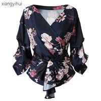 Vintage Floral Print Women Blouses Dark Blue Color Fashion Puff Sleeve Shirt 2017 Autumn Winter Sexy