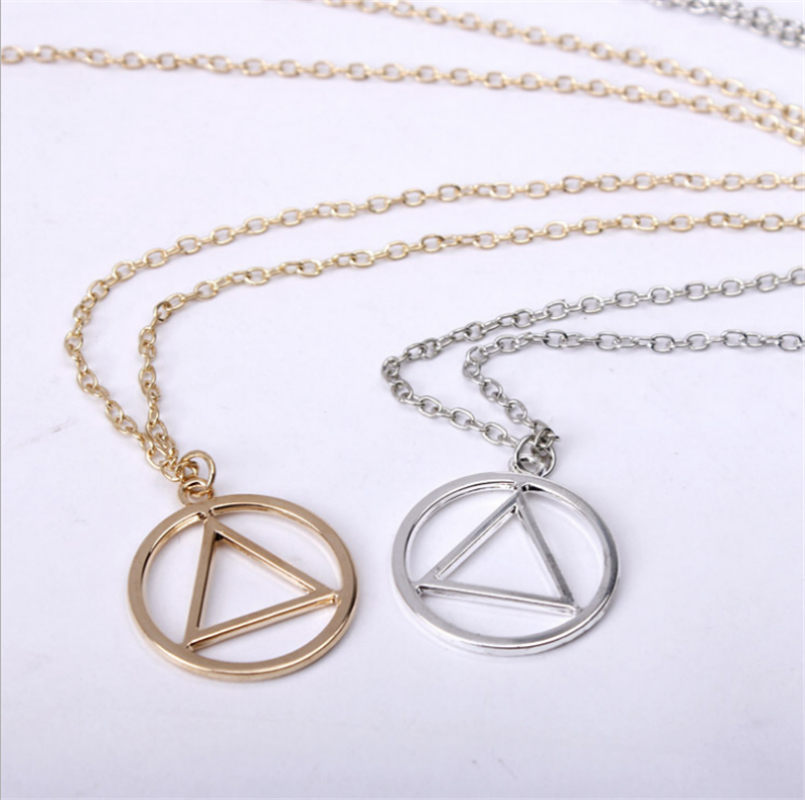 10pcs/lot Alcoholics Anonymous Symbol Necklace Aa Unity Keychain Eminem Triangle In Circle Emblem Medallion Charm Fire Sign Buy Now