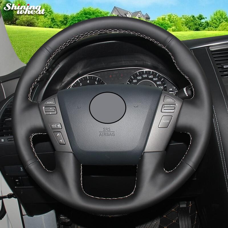Shining wheat Genuine Leather Steering Wheel Cover for Nissan Patrol 2011-2017 Infiniti QX56 2011-2013 Infiniti QX80 2013-2017